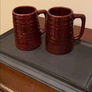 Pair of Antique USA Brown Pottery Antique Mugs.